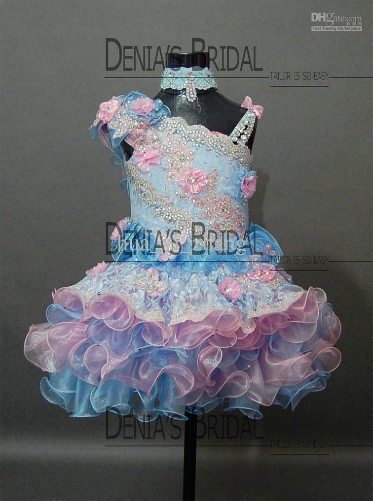 2013 Real Kids Pageant Dresses Little Girls Cupcake Dress Pink and Blue with Free Bow Comb