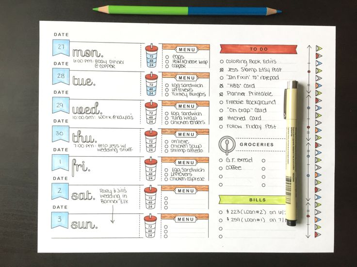 A4, Printable Planner Page, Weekly Calendar Template, Bullet Journal Printable, Adult Coloring, To Do List, Grocery List, Meal Planning by LighthousePaperCoNC on Etsy https://www.etsy.com/ca/listing/449512086/a4-printable-planner-page-weekly