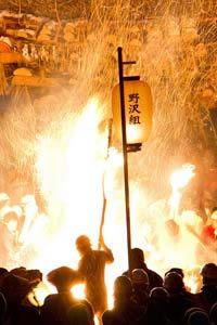 Nozawa Onsen Fire Festival, Nozawa Onsen Dosojin Matsuri, is one of the three great Japan fire festivals held in January every year.