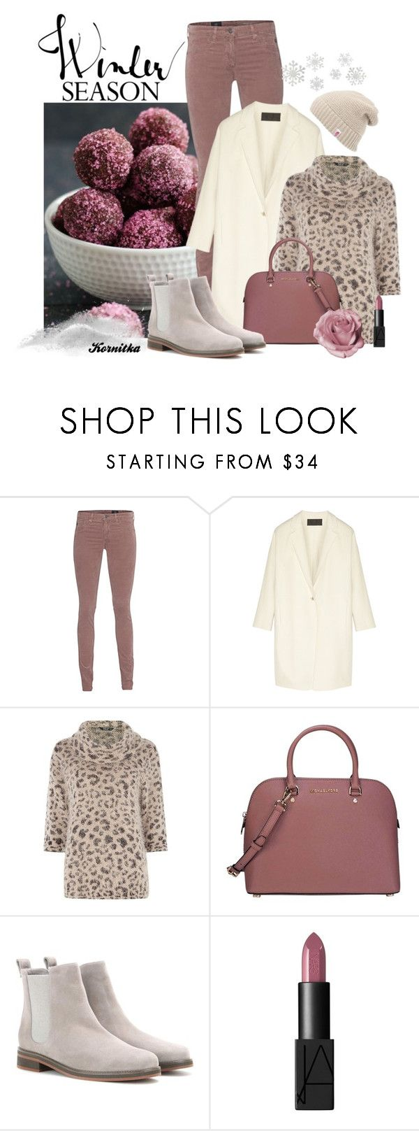 """""""nr 839 / Dusty Rose"""" by kornitka ❤ liked on Polyvore featuring AG Adriano Goldschmied, Donna Karan, TIGI, Michael Kors, Loro Piana, NARS Cosmetics and The North Face"""