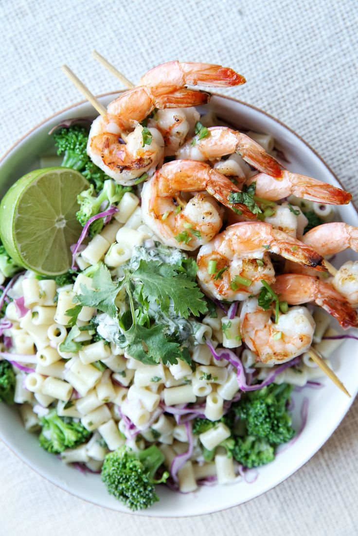 Chili Lime Pasta With Shrimp Skewers