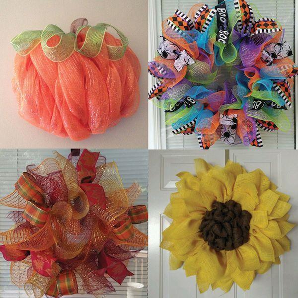 Deco mesh and burlap wreaths for the fall! Pumpkin wreath. Halloween wreath. Fall wreath. Sunflower wreath.