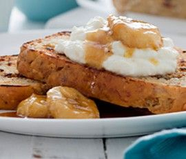 Banana Date and Coconut Bread with Pan Fried Banana and Ricotta