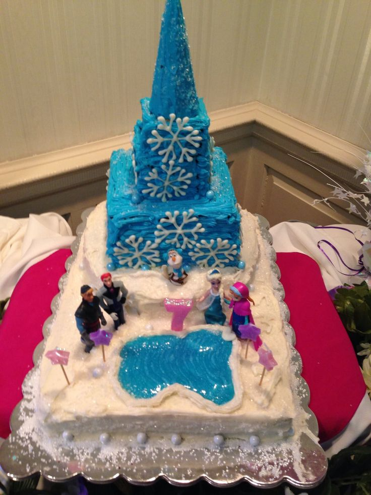 Disney Frozen cake I made for my daughter's 7th birthday party!