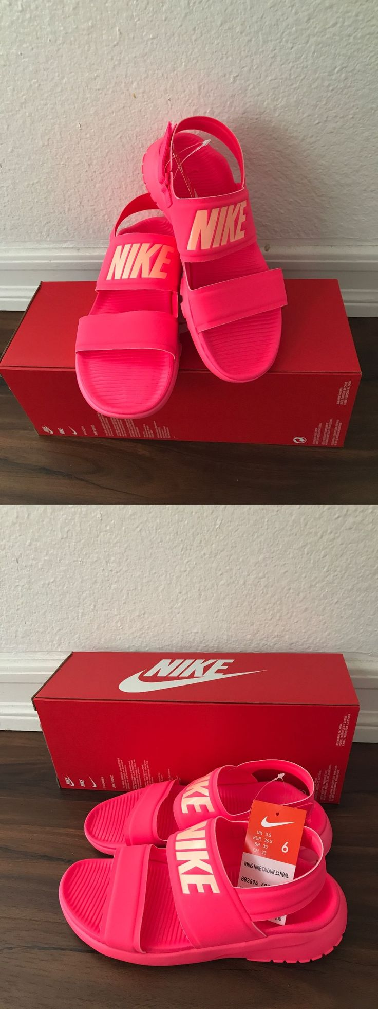 Sandals and Flip Flops 62107: New Nike Tanjun Sandal Racer Pink Women Casual Shoes Sandal 882694-600 Size 6 -> BUY IT NOW ONLY: $59.99 on eBay!