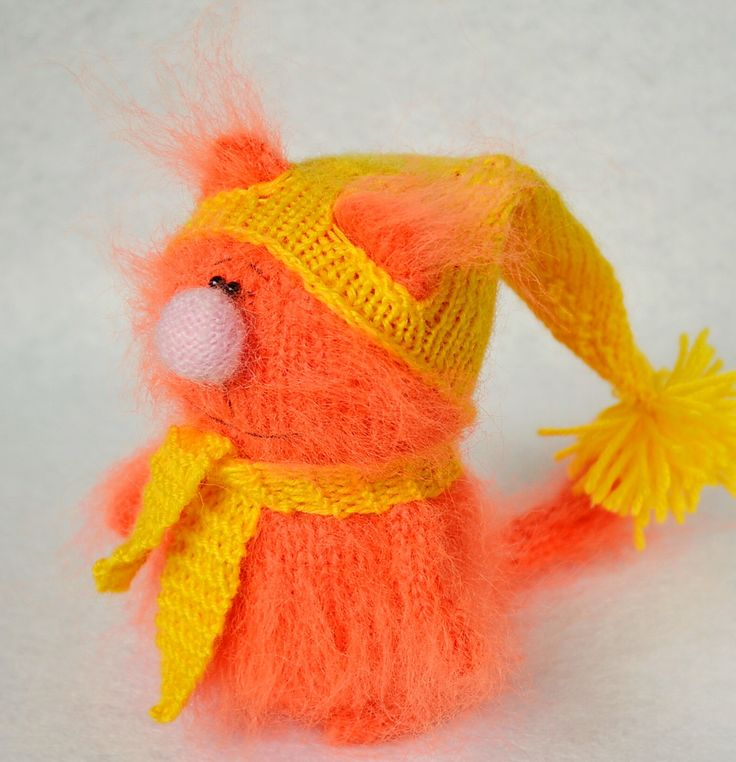 Orange kitty in yellow hat - Amigurumi cat  hand-knitted miniature cat Toys plush cats Handmade Crochet cat dolls stuffed cat softie toys by MiracleStore on Etsy