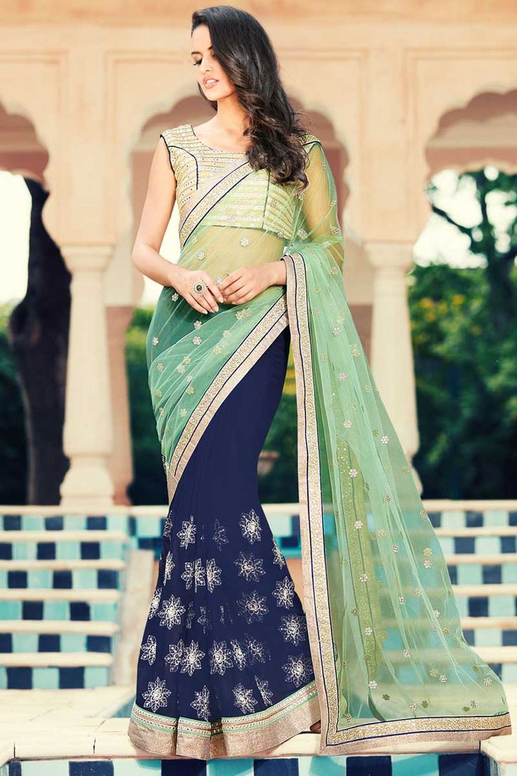 #AndaazFashion presents Light green blue Georgette and net Saree With Art silk Blouse  http://www.andaazfashion.fr/womens/sarees/light-green-blue-georgette-and-net-saree-with-art-silk-blouse-dmv8421.html