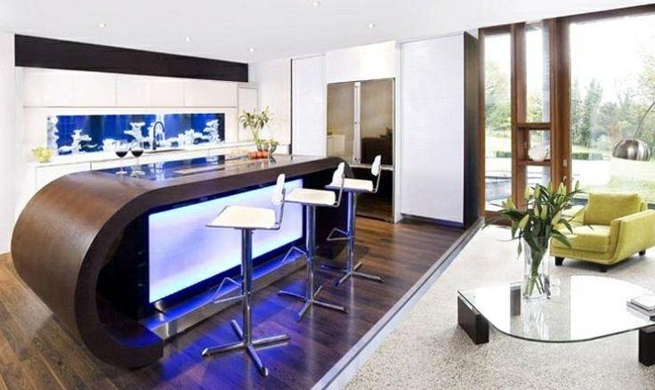 idée séparation pièce bar ilot central cuisine design table en verre fauteuil jaune