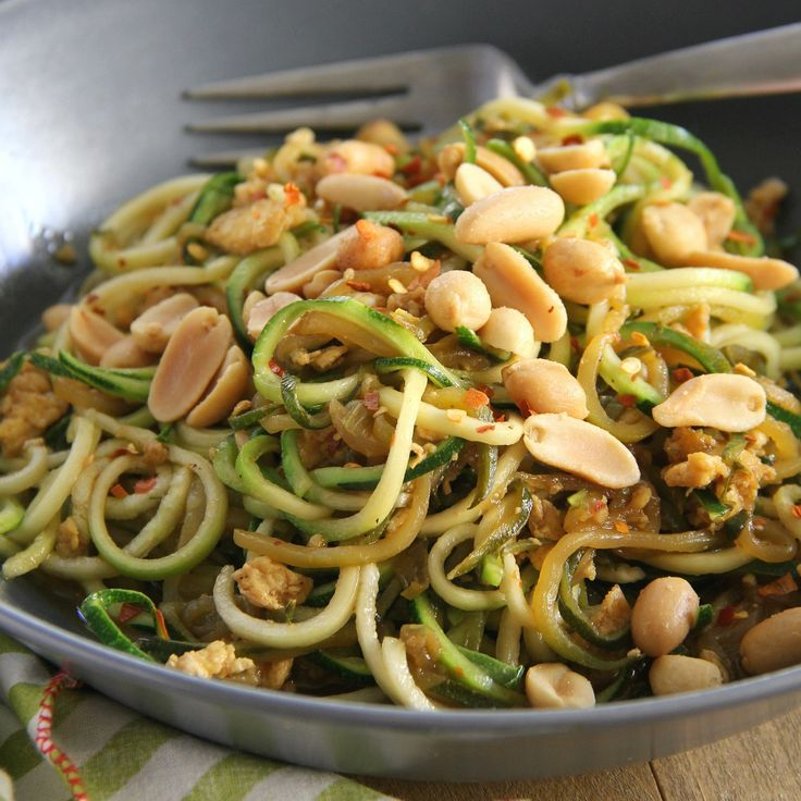 Zucchini Pad Thai - Enjoy this flavorful and low-carb version of Pad Thai made with tender zucchini noodles!