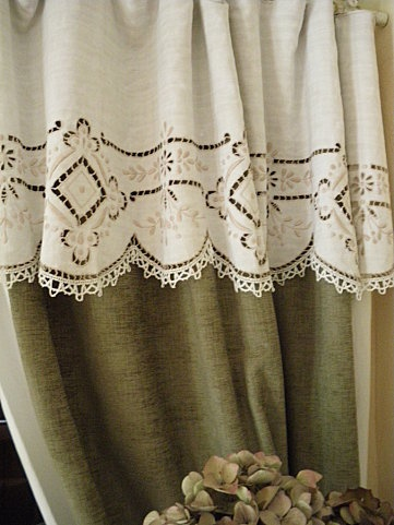 Linen Curtain - adding different color lace to top