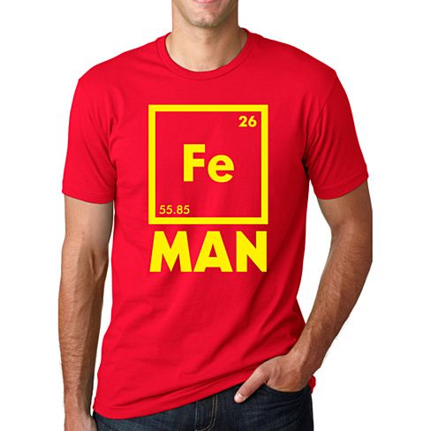 Catch everyone's eye with this nerdy, yet superheroish tshirt!  Our traditional bright red super soft cotton shirt combined with our bright yellow ink will be sure to get you noticed.