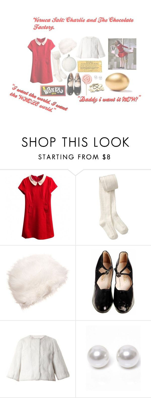 """Veruca Salt: Charlie and The Chocolate Factory"" by vintageenglishrose ❤ liked on Polyvore featuring Tara Jarmon, Old Navy, Christian Louboutin, RED Valentino, Nouv-Elle, movie, book, film, charlieandthechocolatefactory and verucasalt"
