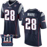 Men's New England Patriots #28 James White Navy Blue Team Color Super Bowl LI Champions Nen Elite Jersey
