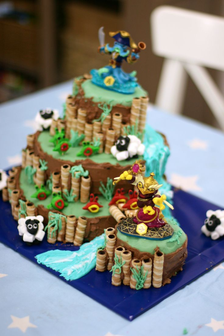 Skylander Birthday Cake! Features 4 levels, river, bridge, sheep, chompies