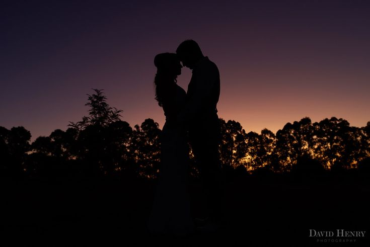 Silhouette of bride and groom at Down Converys Lane near Ballina