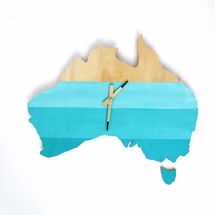 One Sunday Morning – Australia Wall Clock. Hand cut and painted, using FSC plywood • Available at thebigdesignmarket.com