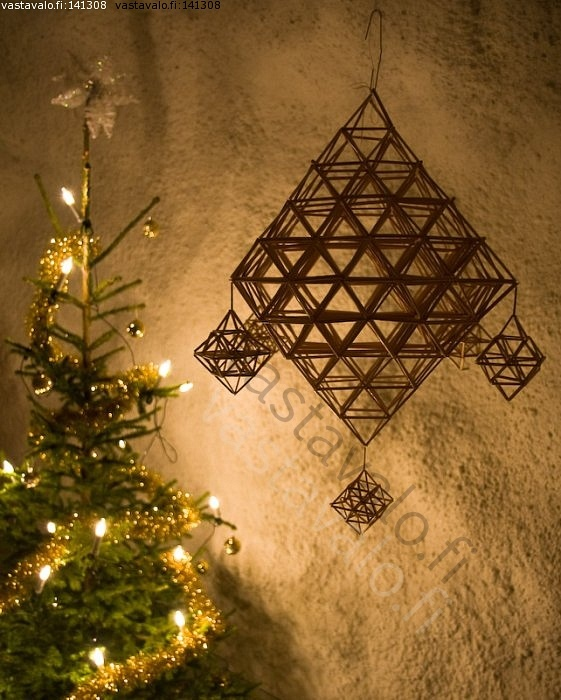 Finnish himmeli in black ( Traditional, handmade  Christmas ornament, made of straw )