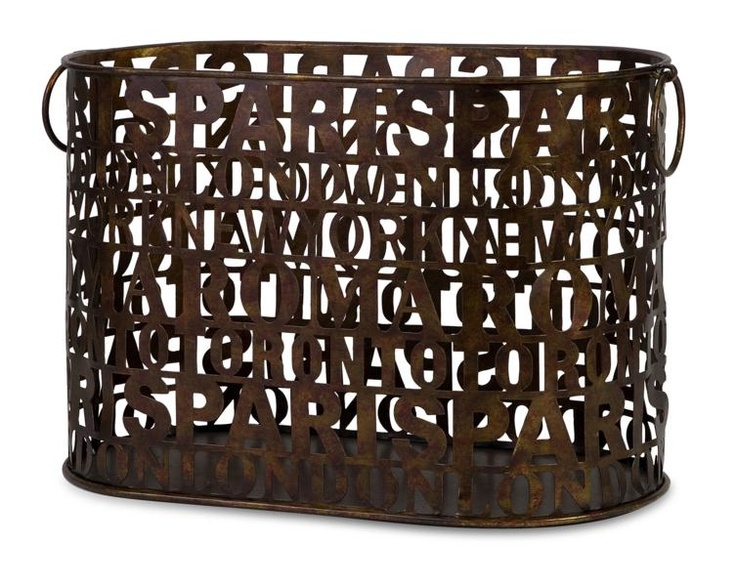"""Travel Journal Trug - Keep newspapers and magazines organized with this metal travel journal basket. Material: 100% Wrought Iron. 11.5""""h x 17.5""""w x 8.5""""."""