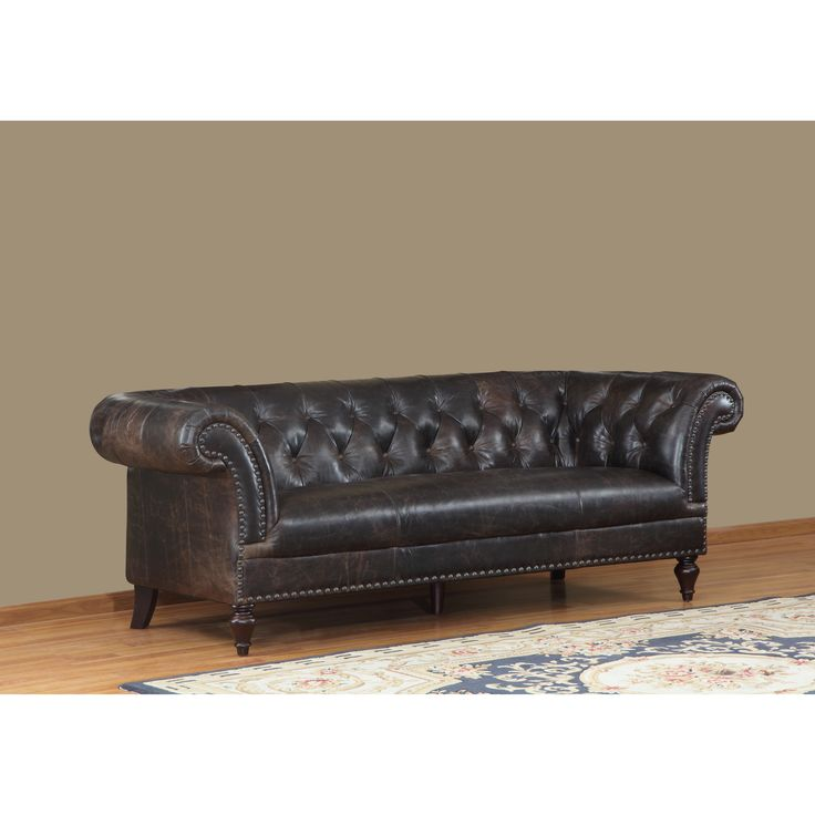 Leather Sectional Sofa Fine brown faux suede leather fabric sofa in Victorian antique style