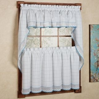 100-percent Cotton Classic White/ Blue Window Pane Pattern and Crotchet Trim Kitchen Curtains - Free Shipping On Orders Over $45 - Overstock.com - 17323408