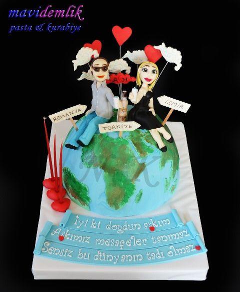 mavi demlik mutfağı- izmir butik pasta kurabiye cupcake tasarım- şeker hamurlu-kur: DÜNYA TEMALI DOĞUM GÜNÜ PASTASI