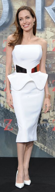 Who made  Angelina Jolies white peplum dress, gold belt, and white pumps that she wore in Berlin on June 4, 2013?