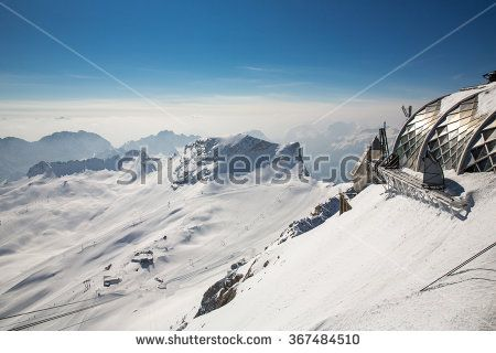 Landscape from Mount Zugspitze, the highest peak of the Wetterstein Mountains as well as the highest mountain in Germany.