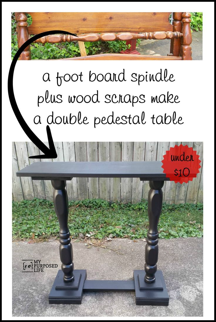 Repurposed bed spindle and wood scraps make a double pedestal sofa table for under ten dollars MyRepurposedLife.com