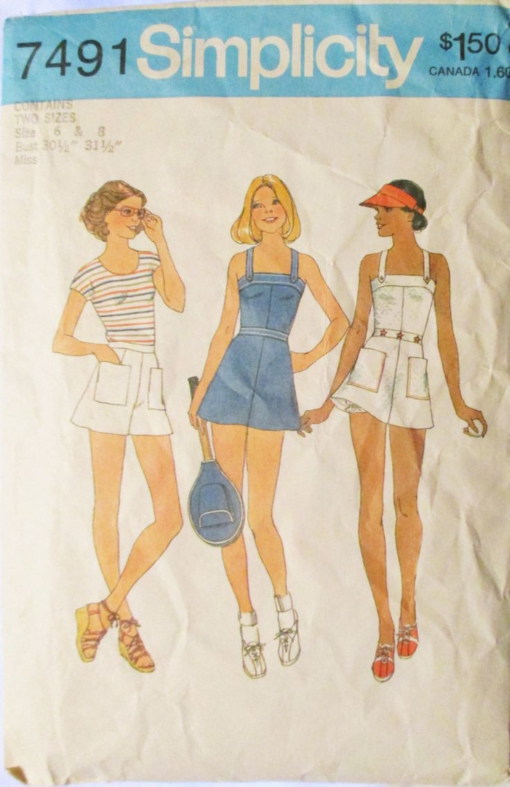 1970s Vintage Sewing Pattern Simplicity 7491 Misses Tennis Dress, Panties, Shorts and Racket Cover Pattern Size 6 & 8 by SewYesterdayPatterns on Etsy