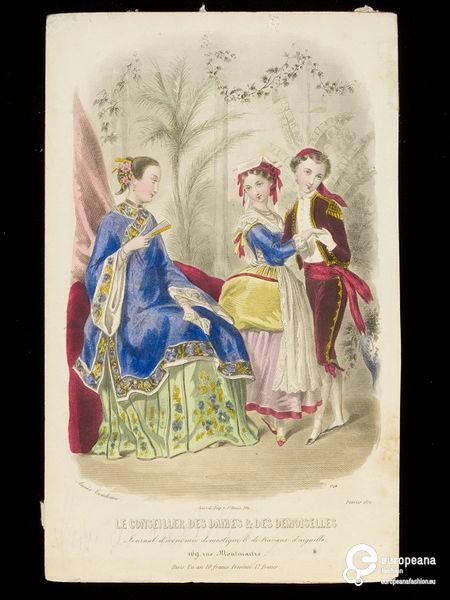 Woman's and children's fancy dress costumes representing China and possibly Spain or Italy. Le Conseiller Des Dames & Des Demoiselles, February 1852 | In the Swan's Shadow