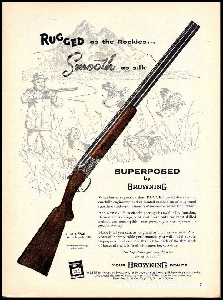 1958 BROWNING Grade 1 Over Under Superposed Shotgun AD Rocky Mountains #Browning