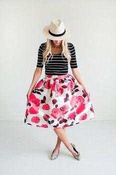 Rose Floral Midi Skirt