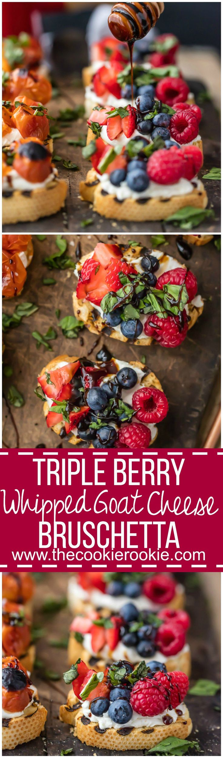 TRIPLE BERRY WHIPPED GOAT CHEESE BRUSCHETTA is beautiful and delicious!  Plus a Caprese Whipped Goat