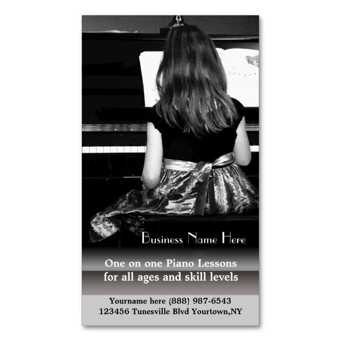 Piano Lessons and Music Teachers Double-Sided Standard Business Cards (Pack Of 100). I love this design! It is available for customization or ready to buy as is. All you need is to add your business info to this template then place the order. It will ship within 24 hours. Just click the image to make your own!