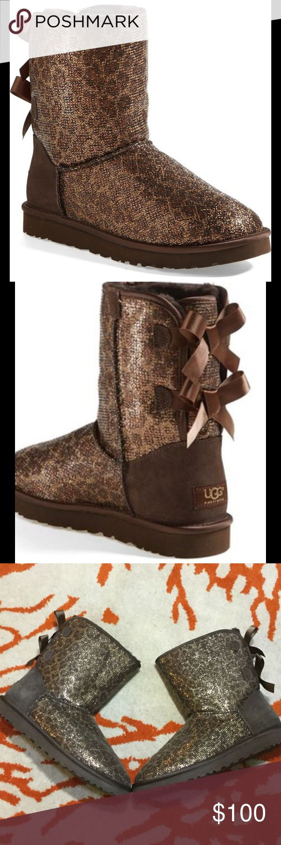 UGG Bailey Bow brown glitter boots UGG Bailey Bow brown leopard glitter boots.  Worn once.  Size 8.  Perfect condition. UGG Shoes Winter & Rain Boots