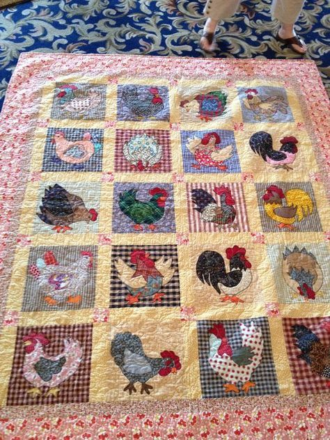 chicken rooster block quilts | ... on Deb's Cats N' Quilts Retreat » Chicken and Rooster Quilt