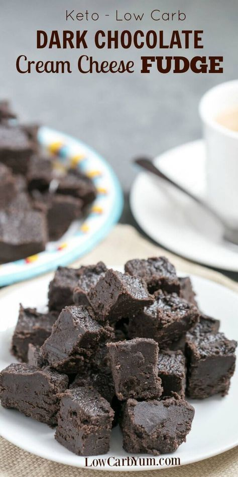 Satisfy your sweet tooth with this heavenly cream cheese dark chocolate keto fudge. It's a delicious low carb treat with only 1 gram net carb per square. | LowCarbYum.com via @lowcarbyum