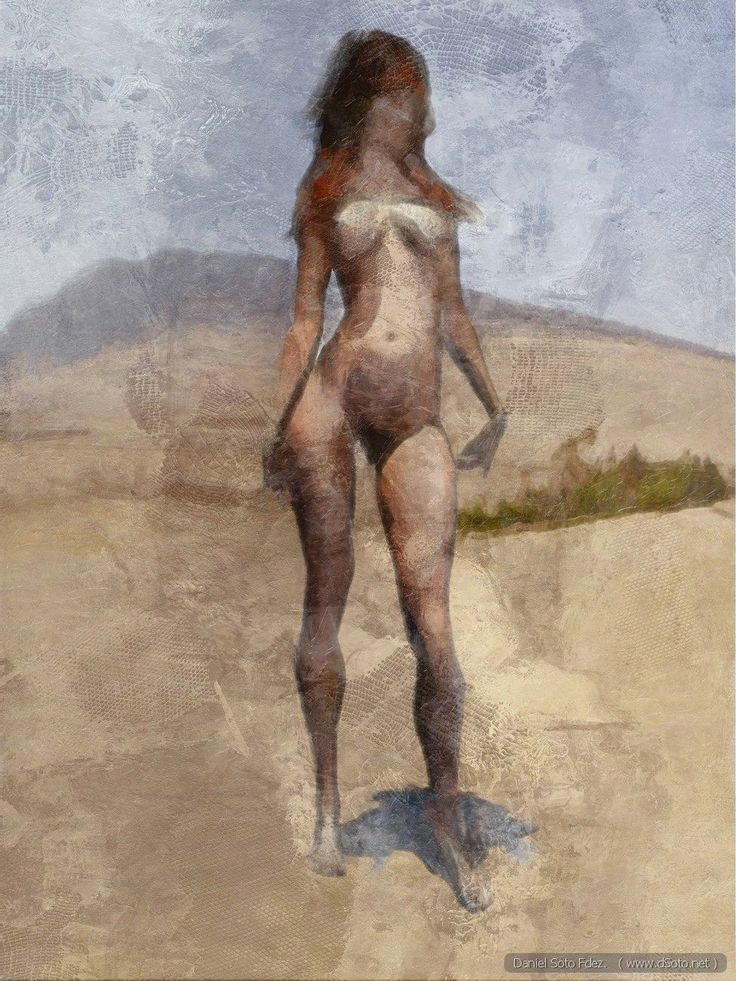 Modelo en un paisaje [Model in a landscape]  A job to play with the textures and color, rather than the shape and the drawing itself.