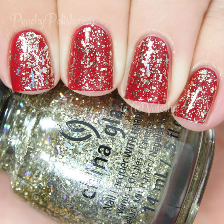 China Glaze De-Light (gold & holo glitter topper)   Holiday 2014 Twinkle Collection   Peachy Polish