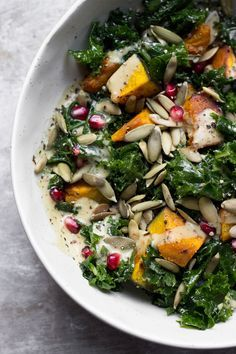 Kale Salad with Kobocha Squash + Maple Dijon Dressing | @withfoodandlove