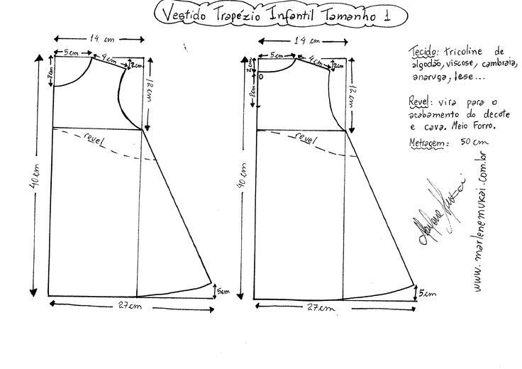 Esquema de modelagem do vestido trapézio infantil tamanho 1 (12 meses).