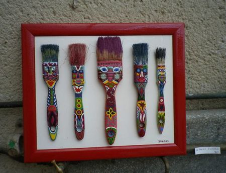 what did the artist use? paint brushes
