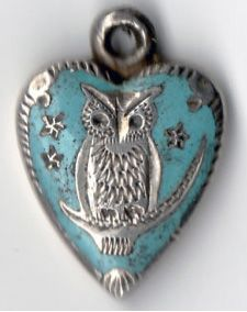 Victorian enamel owl heart  ~ From the estate of Joan Munkacsi