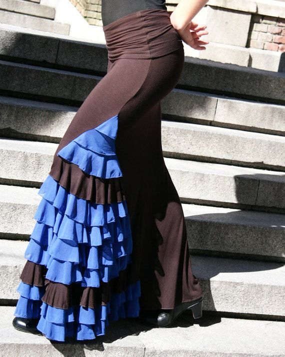 Brown Blue Flamenco Skirts by EyaFlamenca on Etsy, $105.00