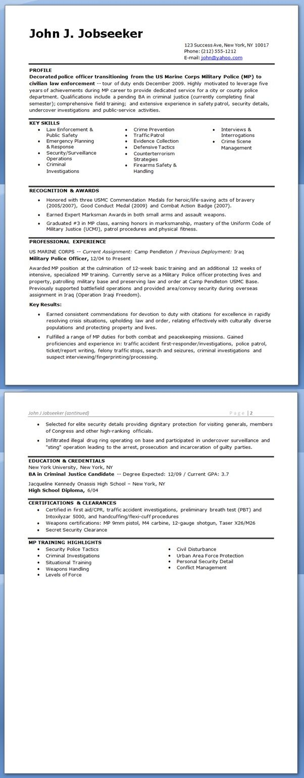 Police Officer Resume Template Free