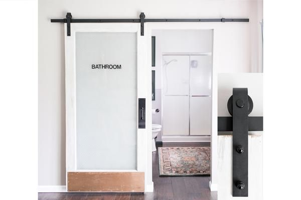 """Sliding Barn Door Hardware is both industrial at its core and efficient in its use of space. A single 96"""" pre-drilled rail is included as it makes for a sturdier finished product and is easier to inst"""