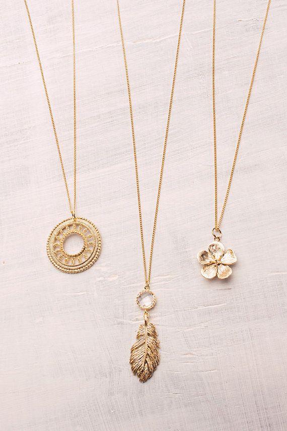 Romantischer vergoldeter Boho Schmuck von manousche Feder Ornament und Kirschblüte romantic boho jewelry