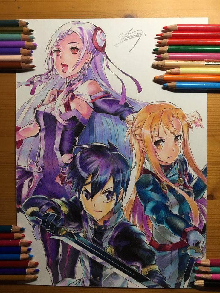 Haruma♡LiSAっ子 @Deviluke0707 2月26日 その他 劇場版SAO公開記念として色鉛筆でアスナとキリトとユナ描きました #上手いと思ったらRT #SAO #劇場版SAO