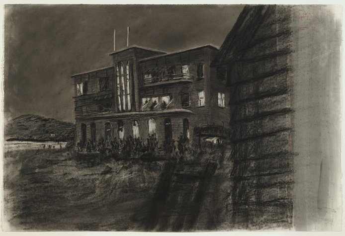"""William Kentridge, """"Drawing from Tide Table: Beach Hotel at Night"""", 2003; drawing; charcoal on paper"""
