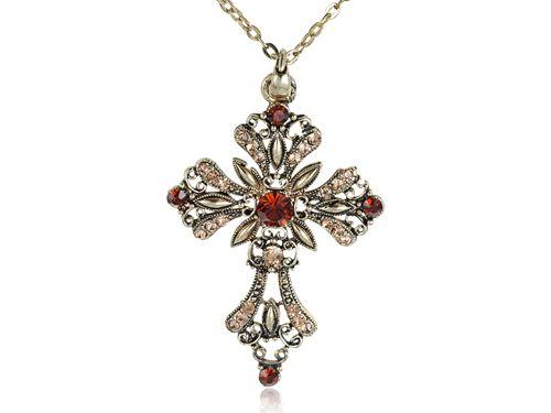 Мода Старинные Крест Кулон Ожерелье Дым Топаз Bling Мода Святой Крест Латунь Тона Ювелирных Изделий